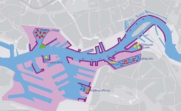 ▲로테르담 항만재편의 혁신적인 플로팅 시설의 위치, Structuurvisie-StadshavensRotterdam
